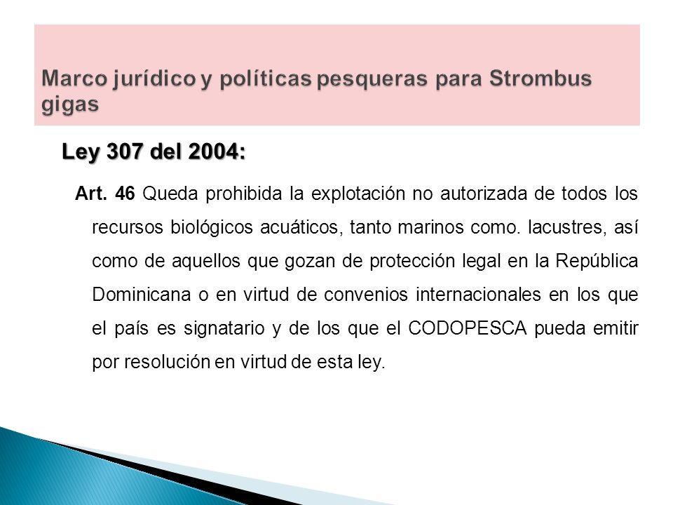 Marco jurídico y políticas pesqueras para Strombus gigas
