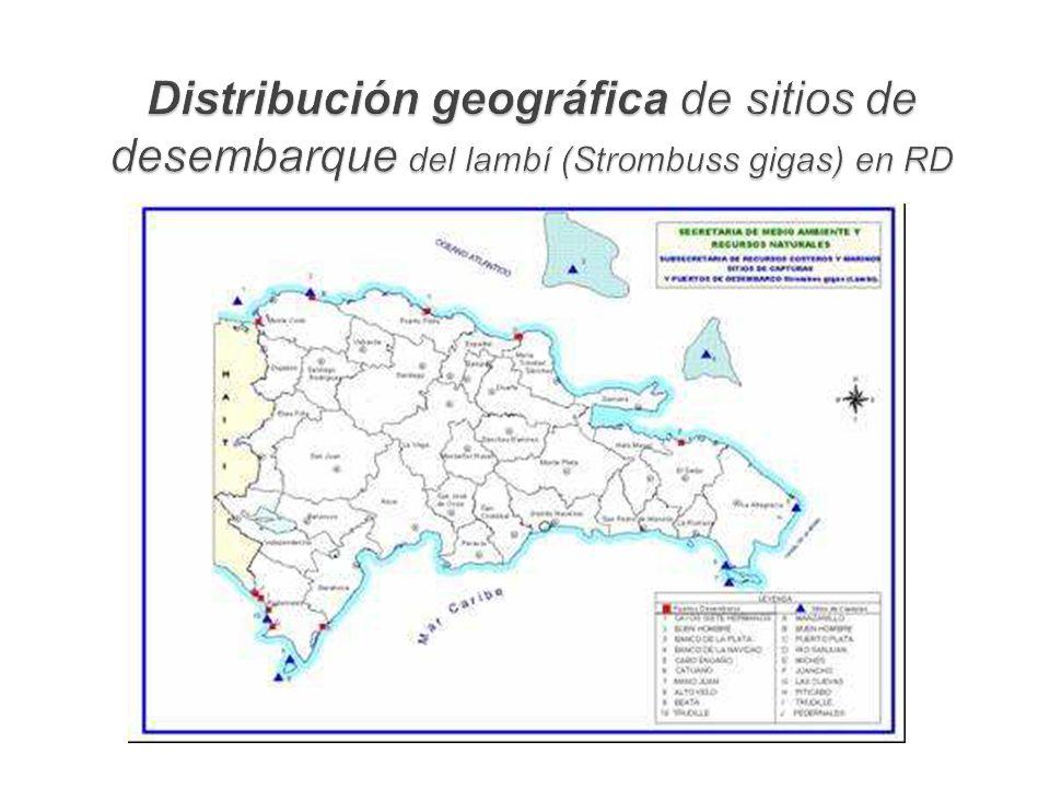 Distribución geográfica de sitios de desembarque del lambí (Strombuss gigas) en RD