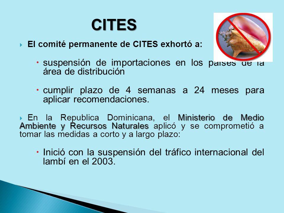 CITESEl comité permanente de CITES exhortó a: suspensión de importaciones en los países de la área de distribución.