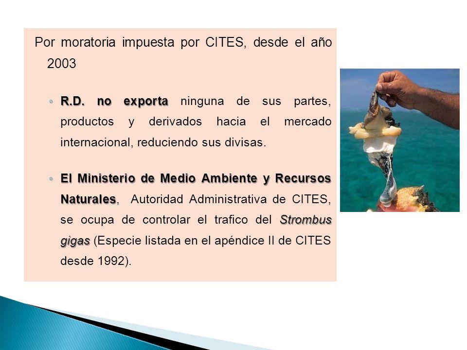 Por moratoria impuesta por CITES, desde el año 2003