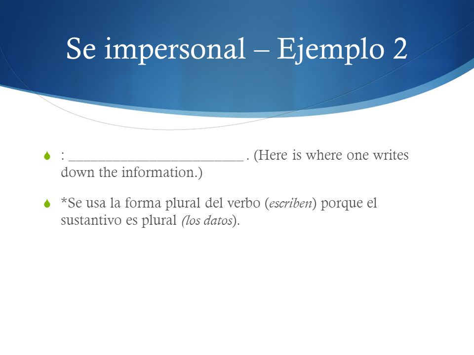 Se impersonal – Ejemplo 2
