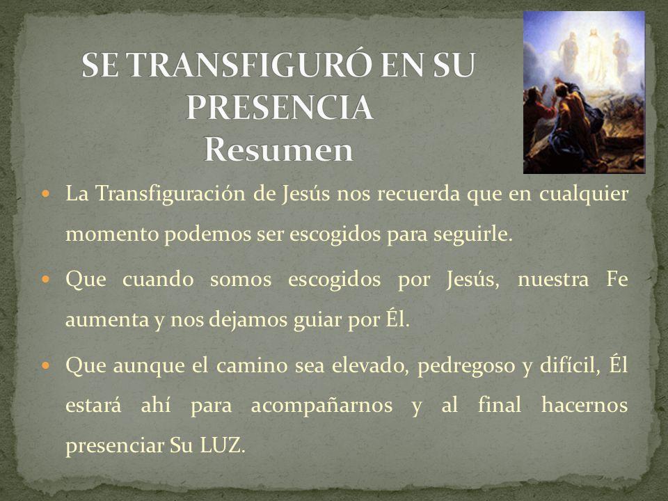 SE TRANSFIGURÓ EN SU PRESENCIA Resumen