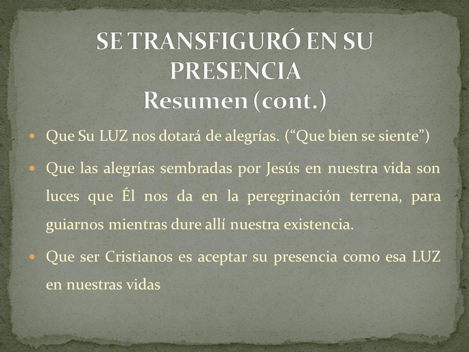 SE TRANSFIGURÓ EN SU PRESENCIA Resumen (cont.)