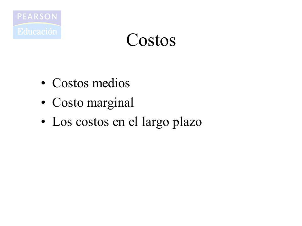 Costos Costos medios Costo marginal Los costos en el largo plazo