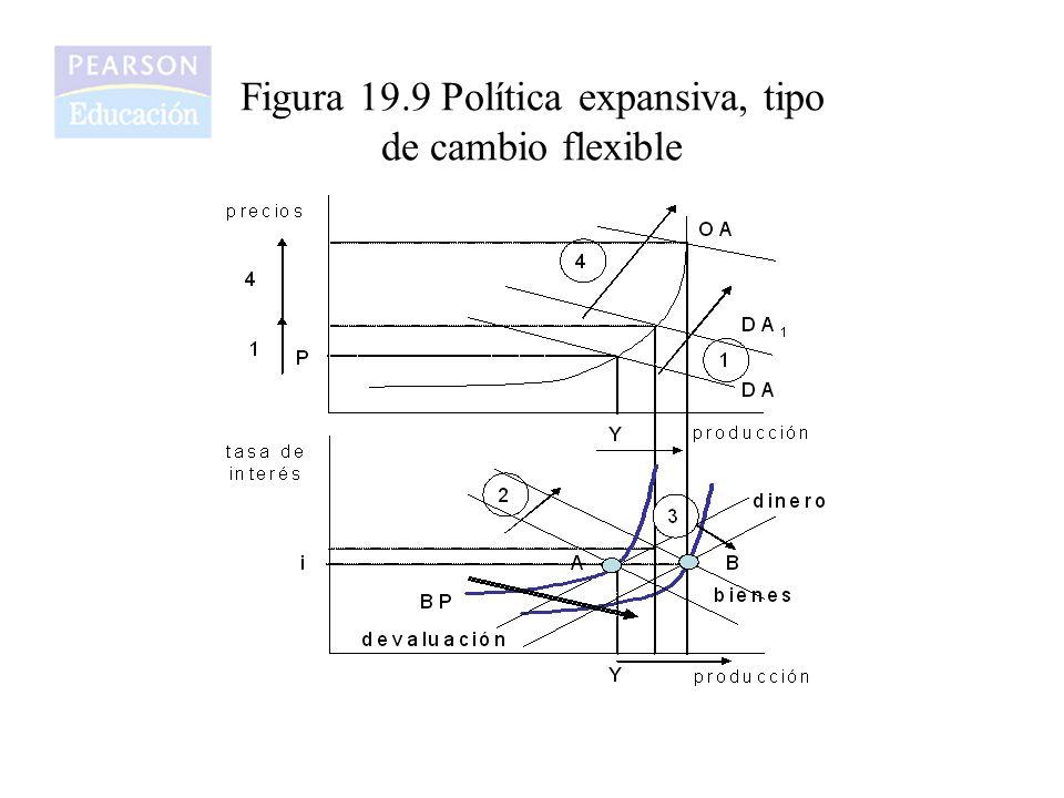 Figura 19.9 Política expansiva, tipo de cambio flexible