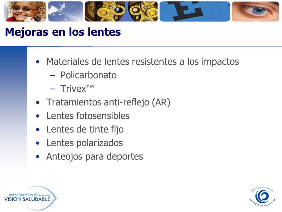 Mejoras en los lentes Materiales de lentes resistentes a los impactos