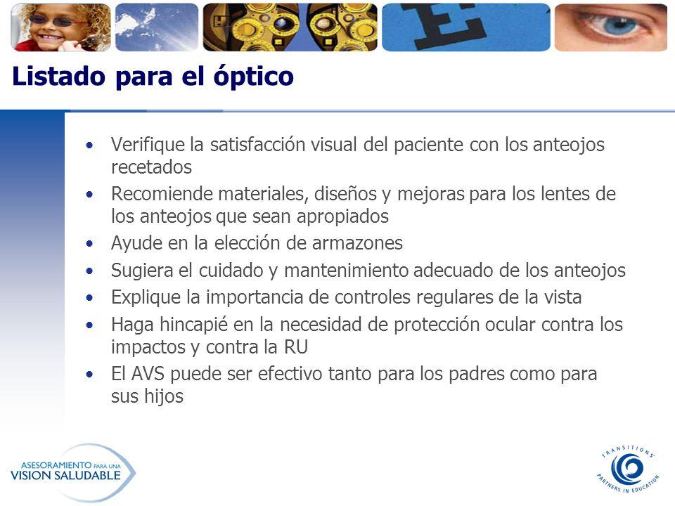 Listado para el óptico Verifique la satisfacción visual del paciente con los anteojos recetados.