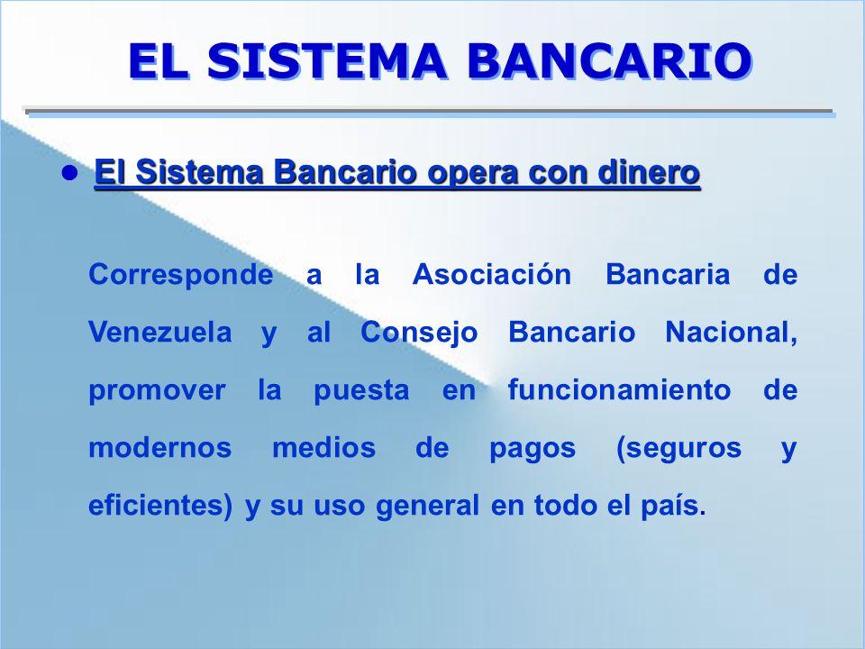 EL SISTEMA BANCARIO  El Sistema Bancario opera con dinero.