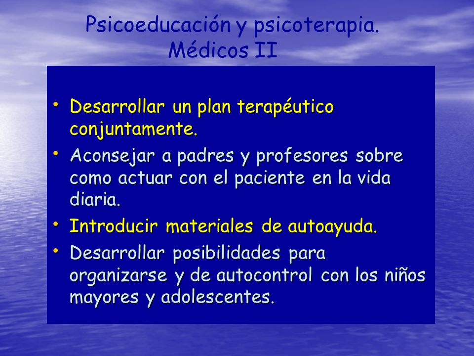 Psicoeducación y psicoterapia. Médicos II