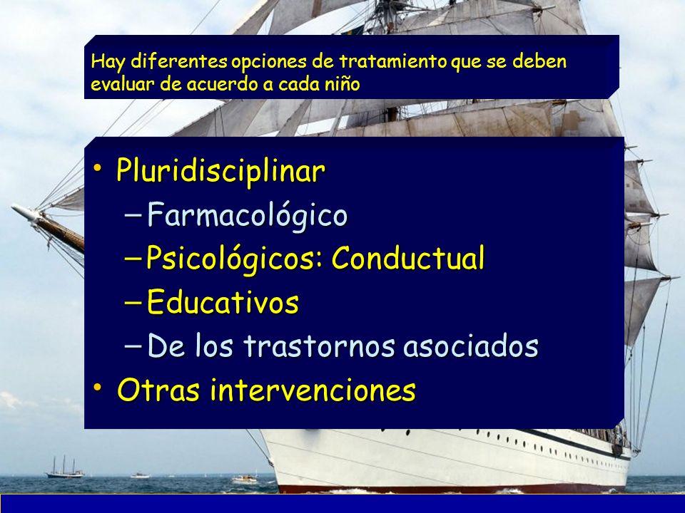 Psicológicos: Conductual Educativos De los trastornos asociados