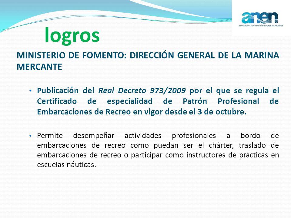 logros MINISTERIO DE FOMENTO: DIRECCIÓN GENERAL DE LA MARINA MERCANTE