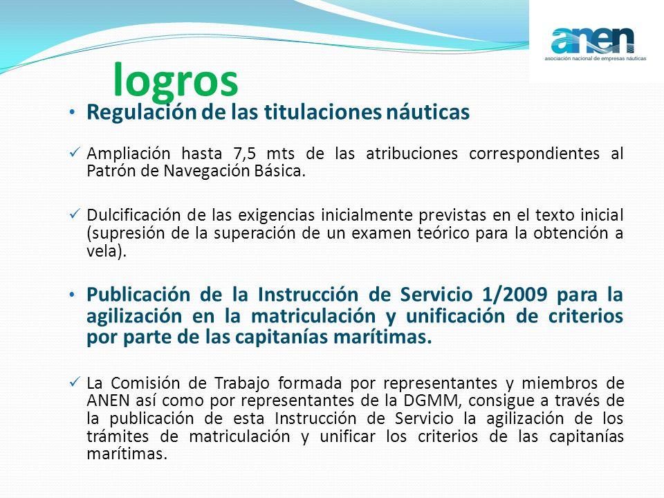 logros Regulación de las titulaciones náuticas