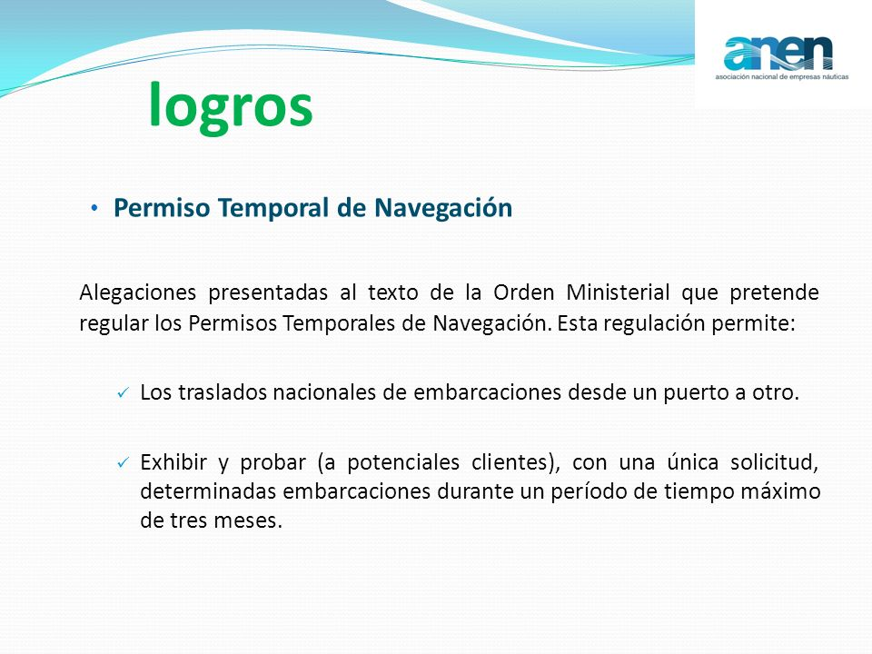 logros Permiso Temporal de Navegación