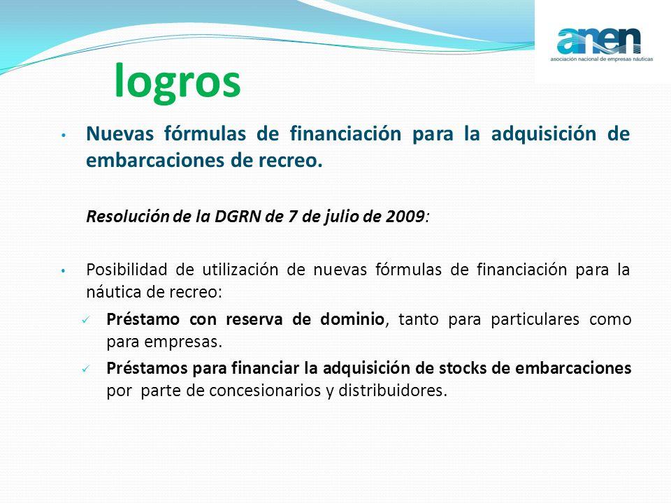 logros Nuevas fórmulas de financiación para la adquisición de embarcaciones de recreo. Resolución de la DGRN de 7 de julio de 2009: