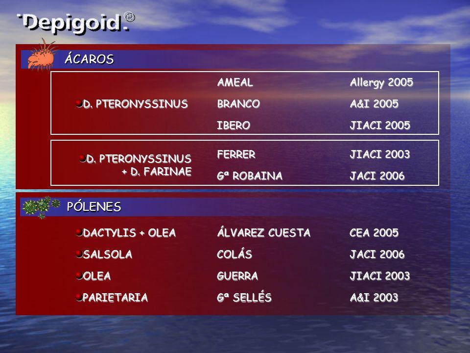 ÁCAROS PÓLENES AMEAL Allergy 2005 D. PTERONYSSINUS BRANCO A&I 2005