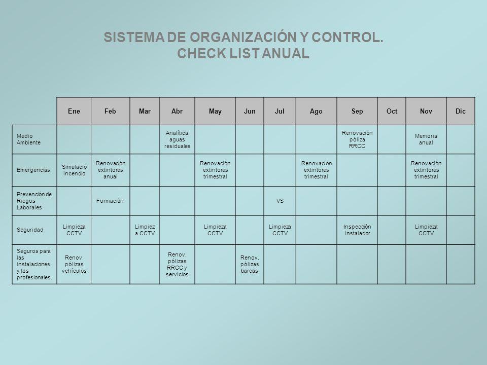 SISTEMA DE ORGANIZACIÓN Y CONTROL. CHECK LIST ANUAL
