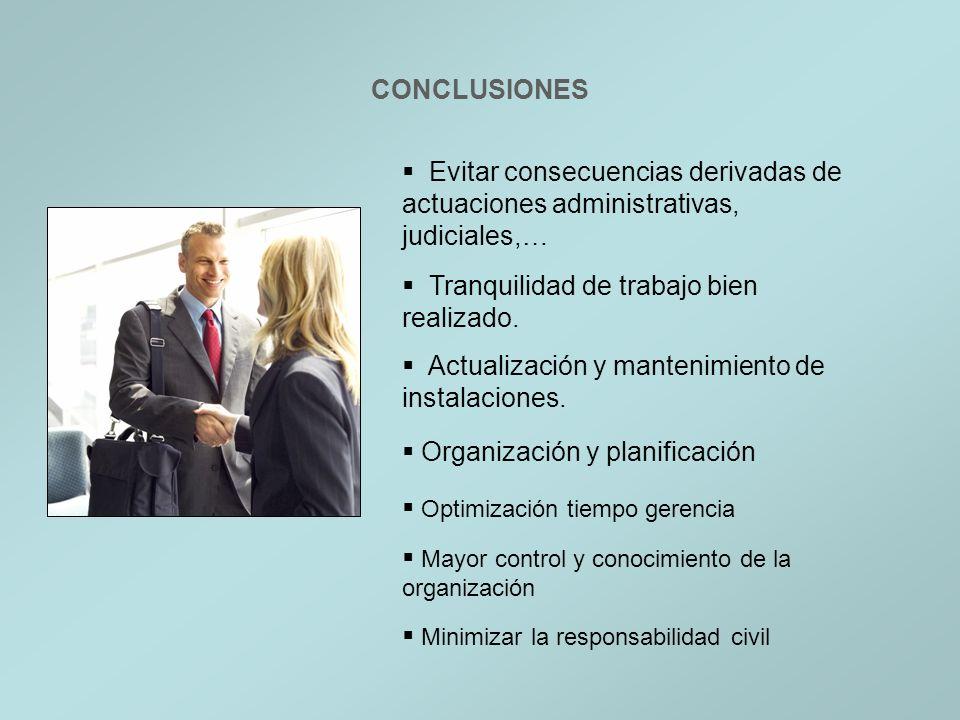 CONCLUSIONES Evitar consecuencias derivadas de actuaciones administrativas, judiciales,… Tranquilidad de trabajo bien realizado.