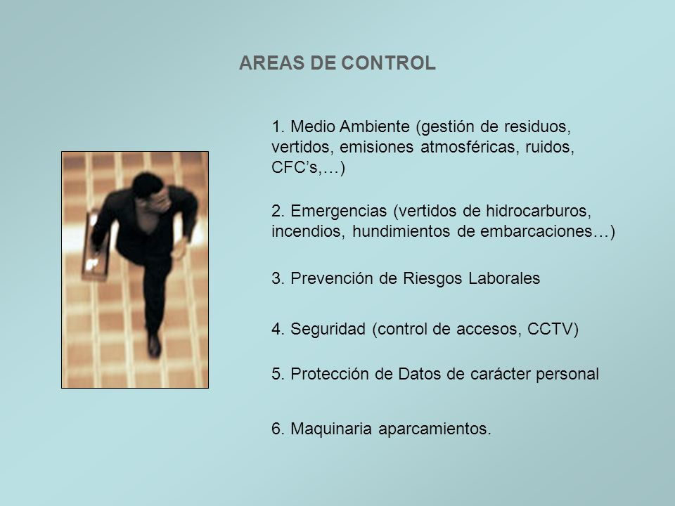 AREAS DE CONTROL1. Medio Ambiente (gestión de residuos, vertidos, emisiones atmosféricas, ruidos, CFC's,…)