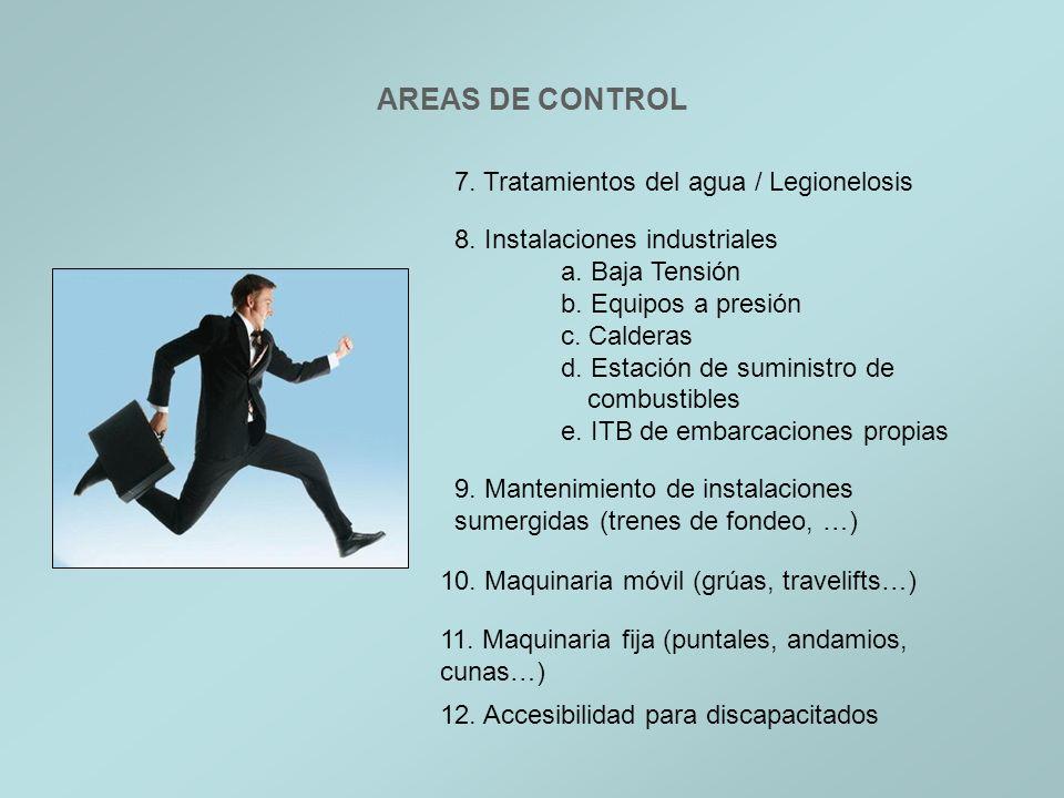AREAS DE CONTROL 7. Tratamientos del agua / Legionelosis