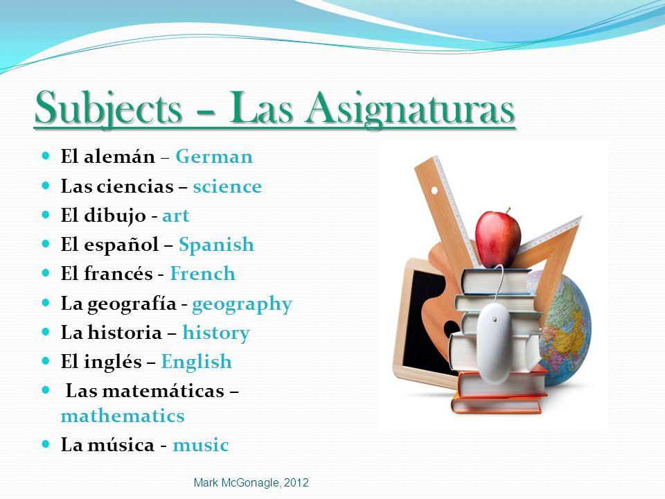 Subjects – Las Asignaturas