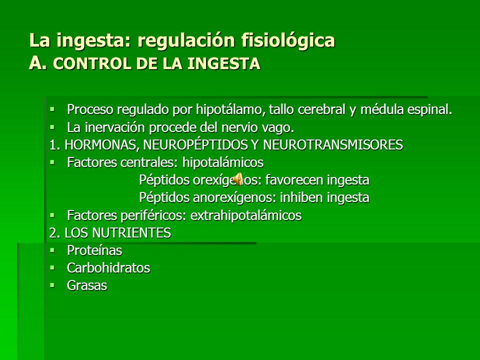 La ingesta: regulación fisiológica A. CONTROL DE LA INGESTA