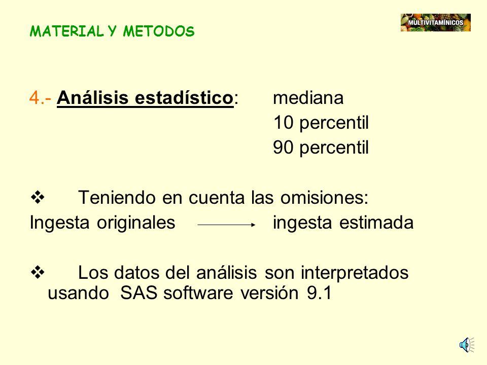 4.- Análisis estadístico: mediana 10 percentil 90 percentil