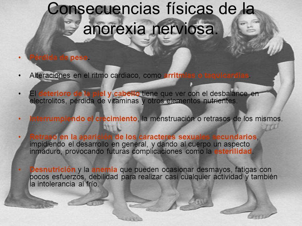 Consecuencias físicas de la anorexia nerviosa.