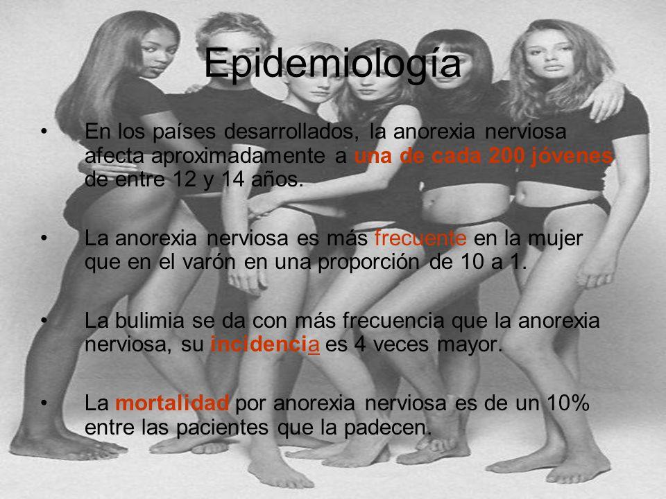 Epidemiología En los países desarrollados, la anorexia nerviosa afecta aproximadamente a una de cada 200 jóvenes de entre 12 y 14 años.