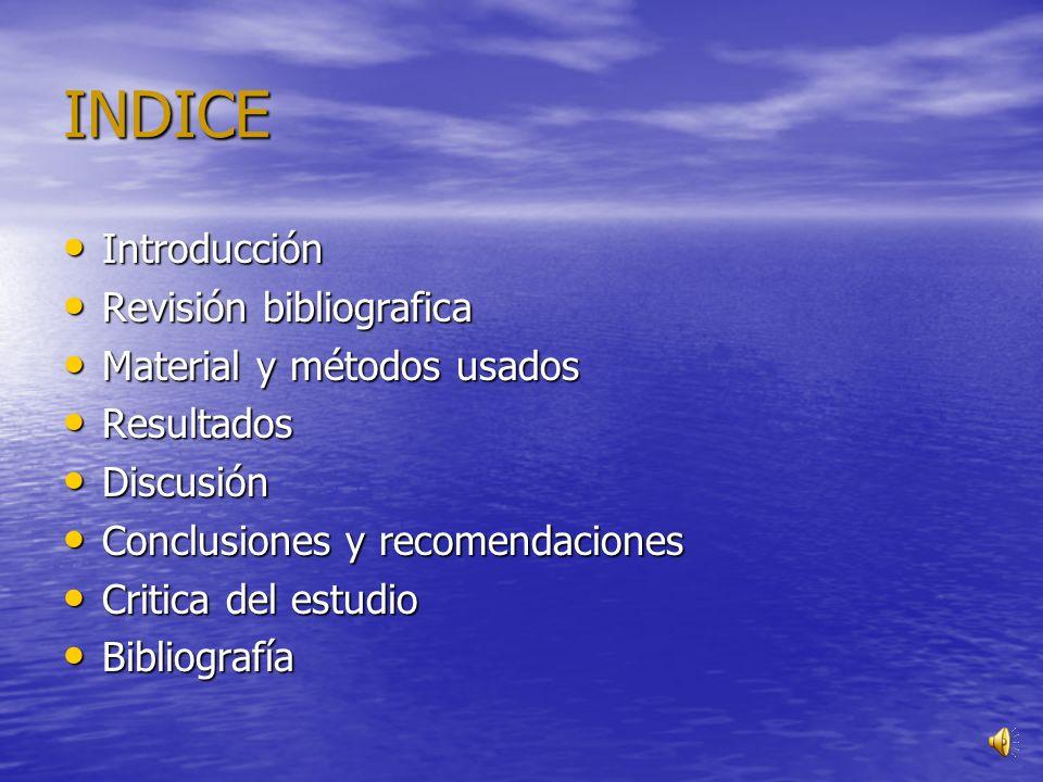INDICE Introducción Revisión bibliografica Material y métodos usados
