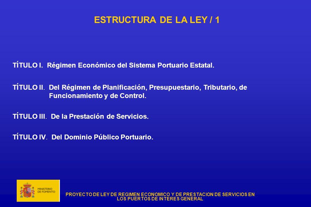 ESTRUCTURA DE LA LEY / 1 TÍTULO I. Régimen Económico del Sistema Portuario Estatal.