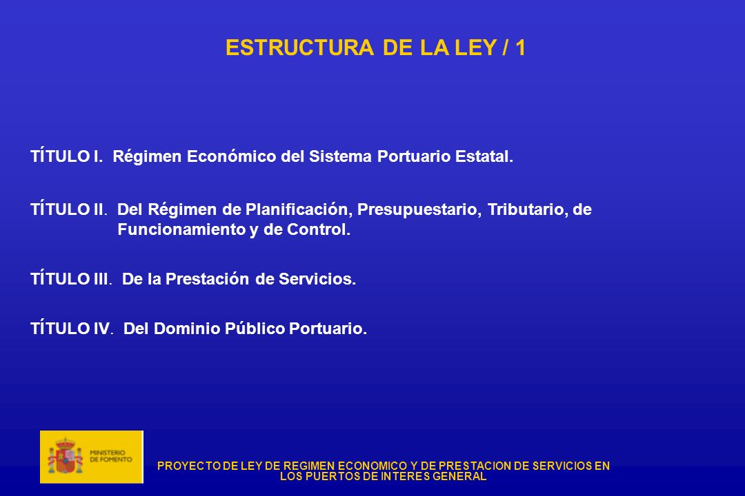 ESTRUCTURA DE LA LEY / 1TÍTULO I. Régimen Económico del Sistema Portuario Estatal.