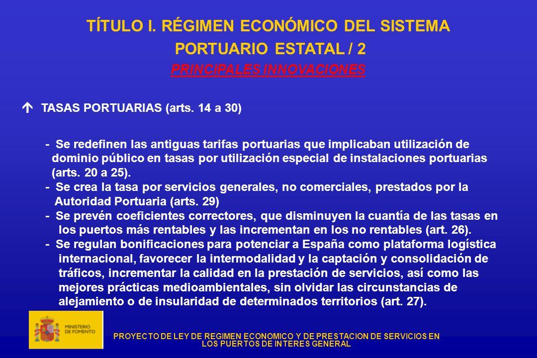 TÍTULO I. RÉGIMEN ECONÓMICO DEL SISTEMA PRINCIPALES INNOVACIONES