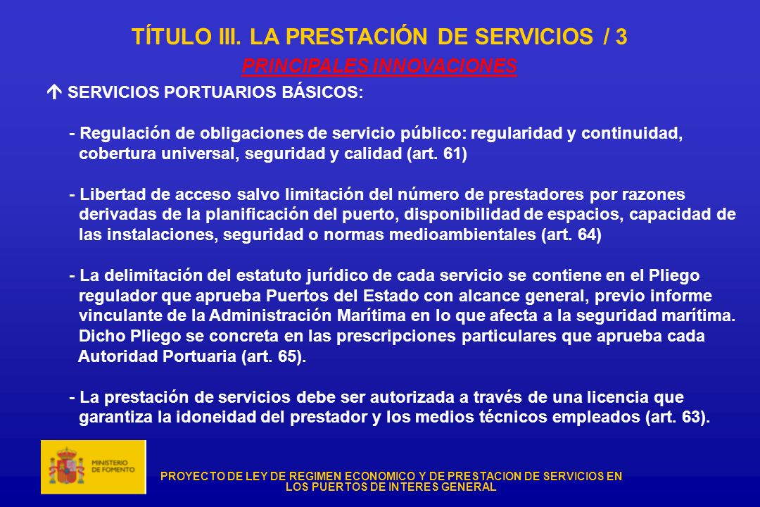 TÍTULO III. LA PRESTACIÓN DE SERVICIOS / 3 PRINCIPALES INNOVACIONES