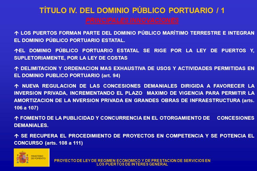 TÍTULO IV. DEL DOMINIO PÚBLICO PORTUARIO / 1 PRINCIPALES INNOVACIONES