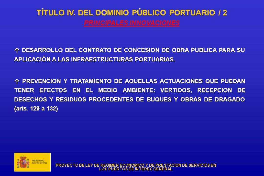 TÍTULO IV. DEL DOMINIO PÚBLICO PORTUARIO / 2 PRINCIPALES INNOVACIONES