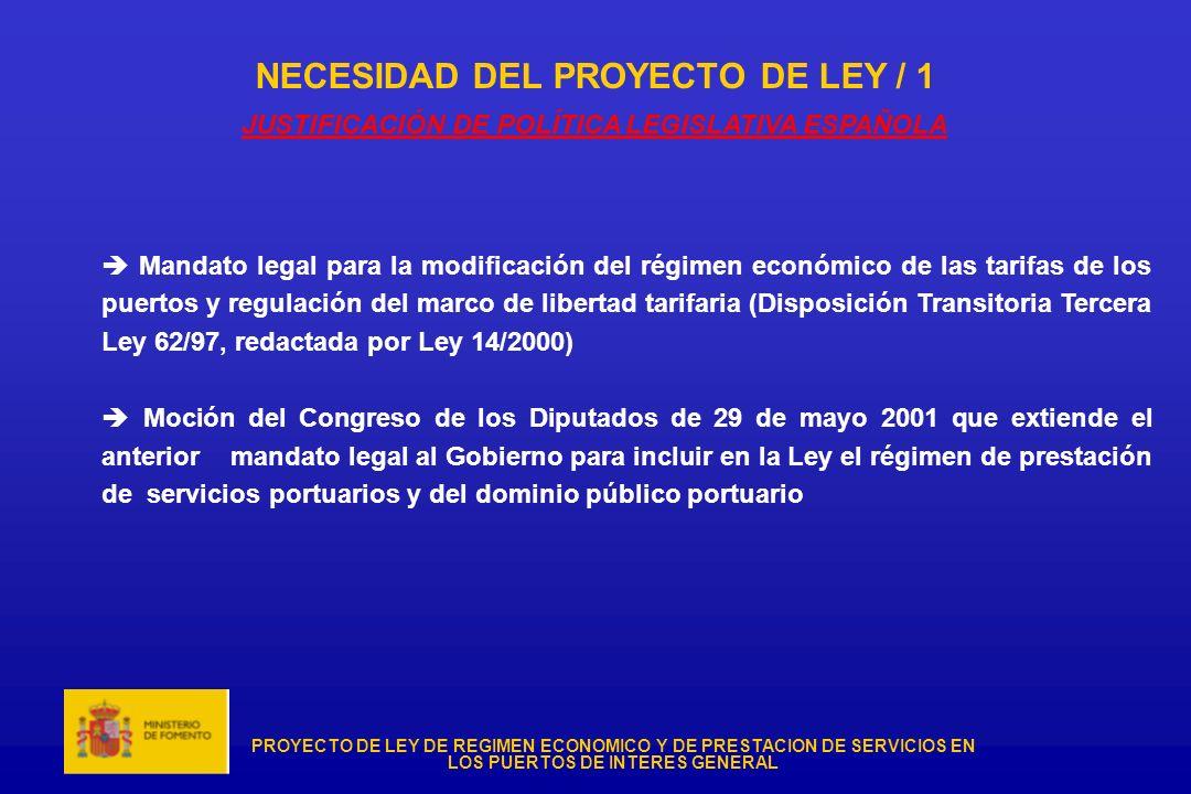 NECESIDAD DEL PROYECTO DE LEY / 1 JUSTIFICACIÓN DE POLÍTICA LEGISLATIVA ESPAÑOLA