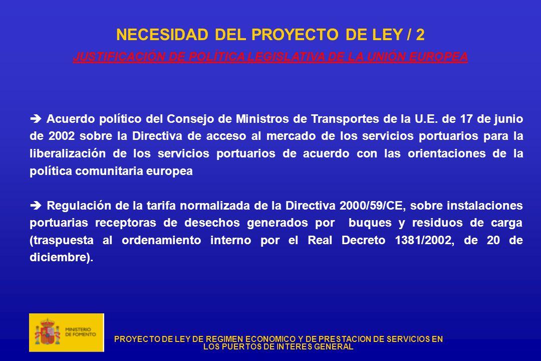 NECESIDAD DEL PROYECTO DE LEY / 2 JUSTIFICACIÓN DE POLÍTICA LEGISLATIVA DE LA UNIÓN EUROPEA