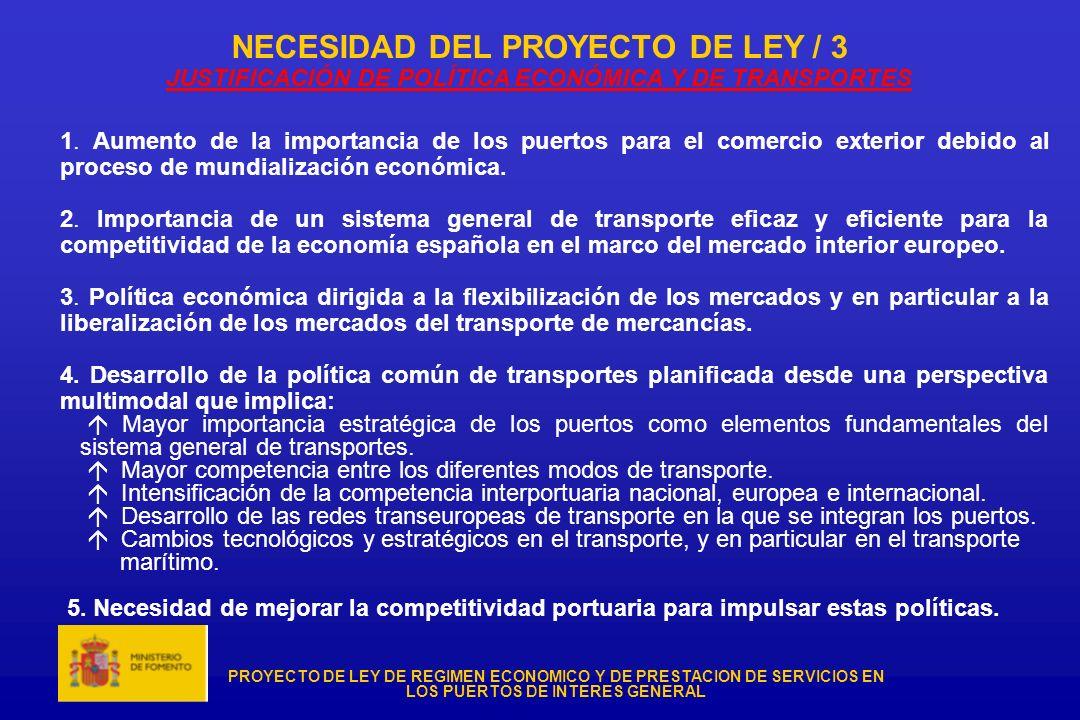 NECESIDAD DEL PROYECTO DE LEY / 3 JUSTIFICACIÓN DE POLÍTICA ECONÓMICA Y DE TRANSPORTES