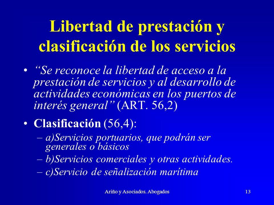 Libertad de prestación y clasificación de los servicios