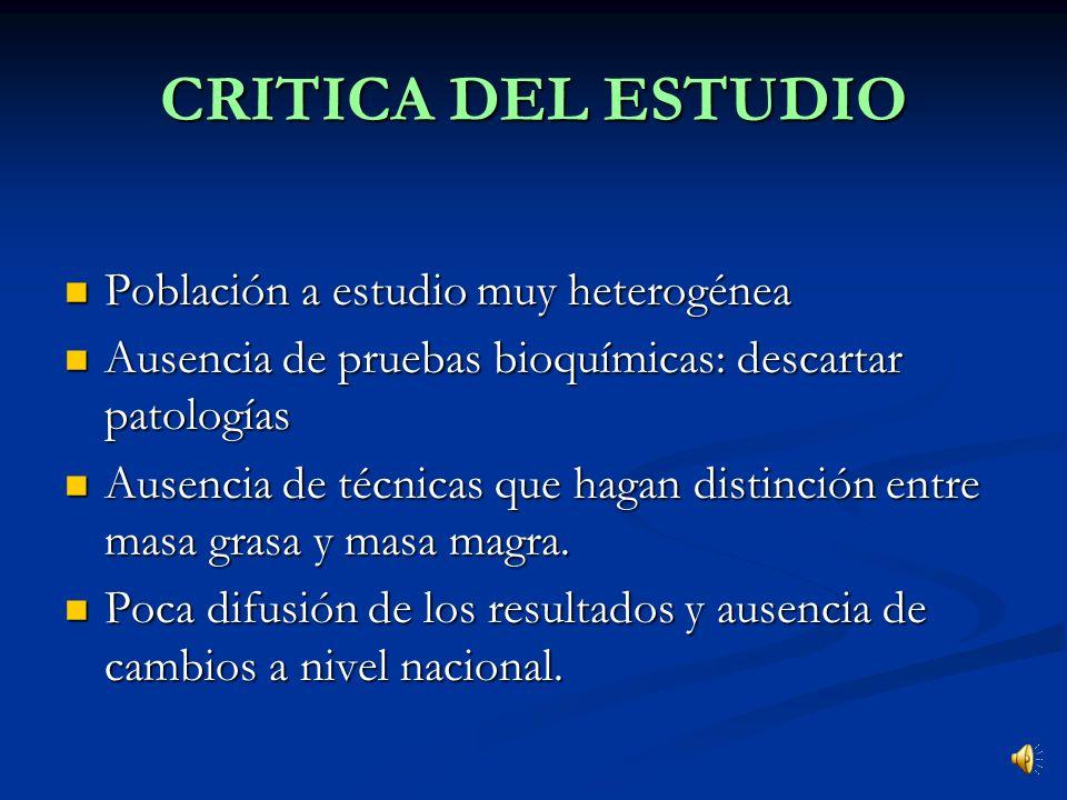 CRITICA DEL ESTUDIO Población a estudio muy heterogénea