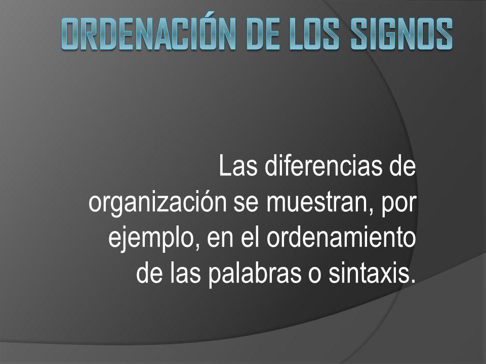 Ordenación de los signos