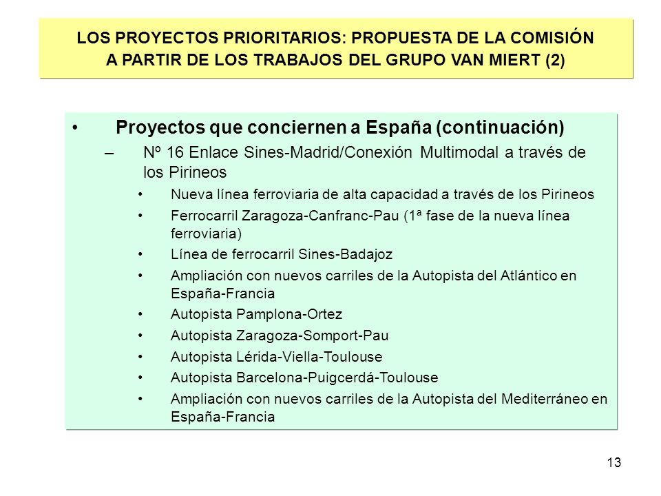 Proyectos que conciernen a España (continuación)