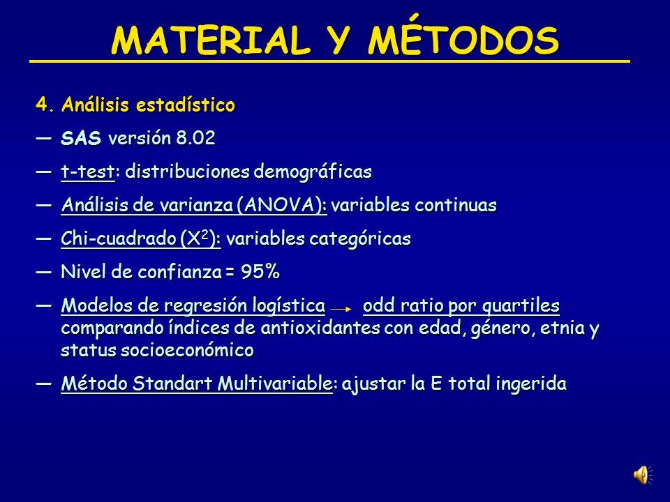 MATERIAL Y MÉTODOS Análisis estadístico SAS versión 8.02