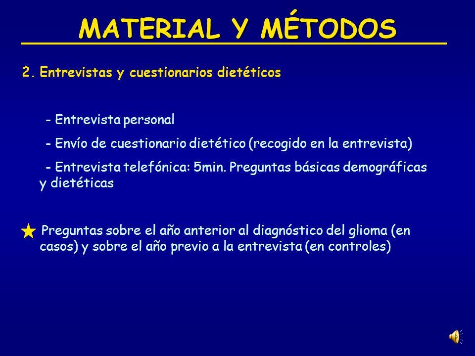 MATERIAL Y MÉTODOS Entrevistas y cuestionarios dietéticos