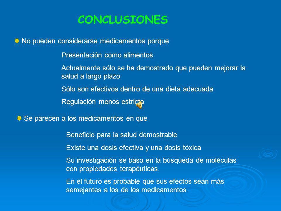 CONCLUSIONES No pueden considerarse medicamentos porque