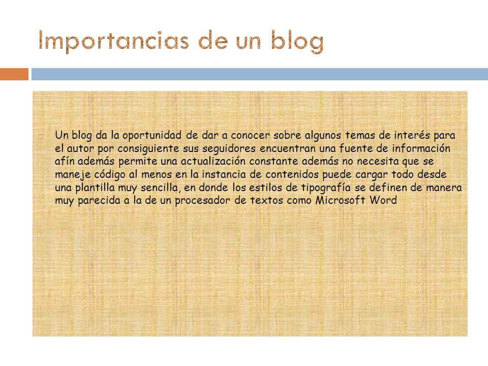 Importancias de un blog
