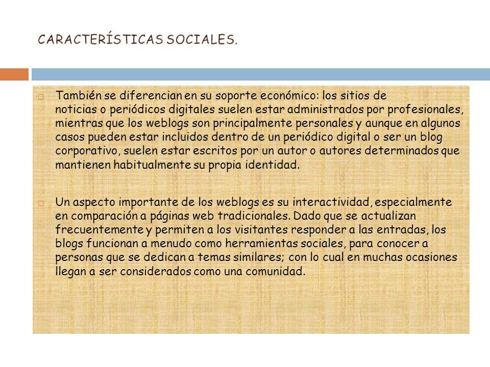 CARACTERÍSTICAS SOCIALES.