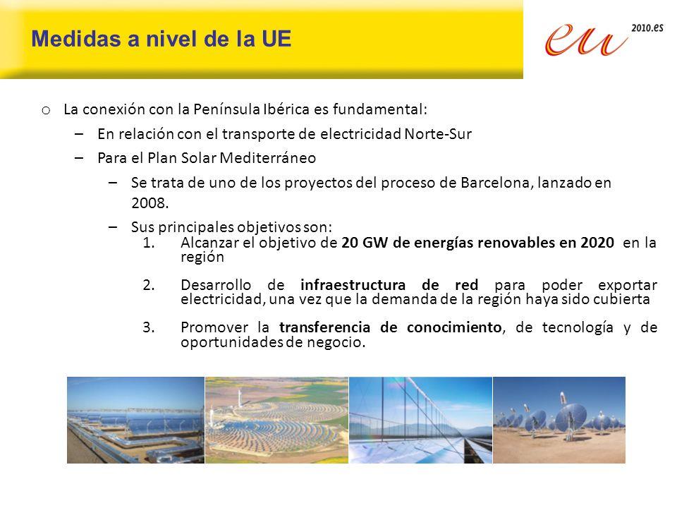 Medidas a nivel de la UE La conexión con la Península Ibérica es fundamental: En relación con el transporte de electricidad Norte-Sur.