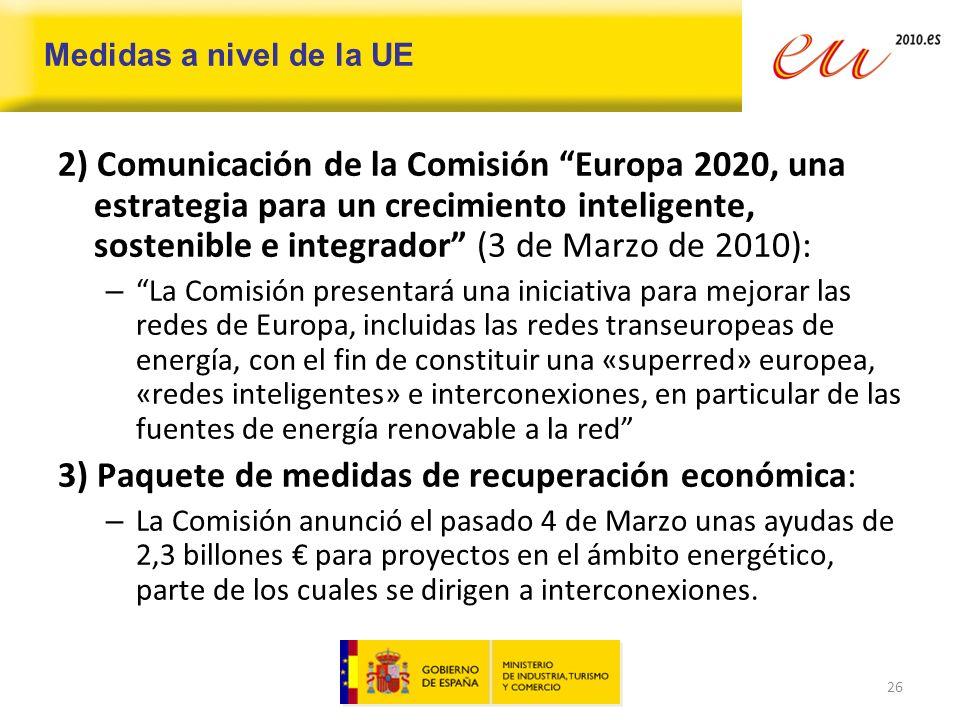 3) Paquete de medidas de recuperación económica: