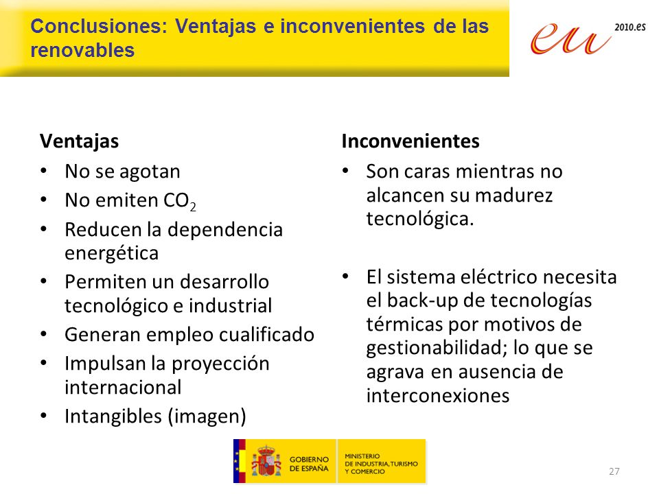 Conclusiones: Ventajas e inconvenientes de las renovables